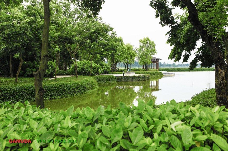 khuôn viên xanh trong Công viên yên sở