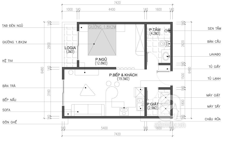 Thiết kế căn hộ 1 phòng ngủ central residence